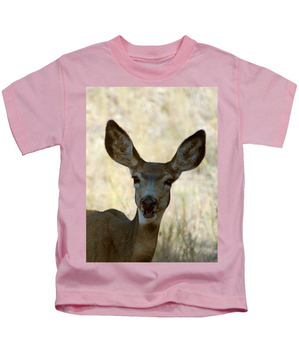 Deer Kids T-Shirt featuring the photograph Kiss Me by Donna Blackhall