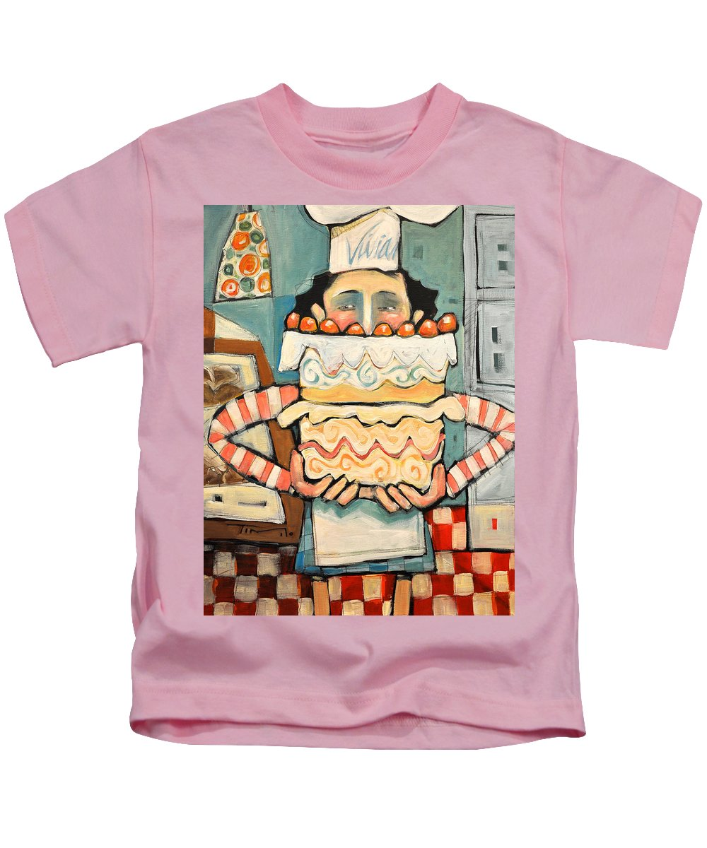 Cake Kids T-Shirt featuring the painting La Boulanger Francaise by Tim Nyberg