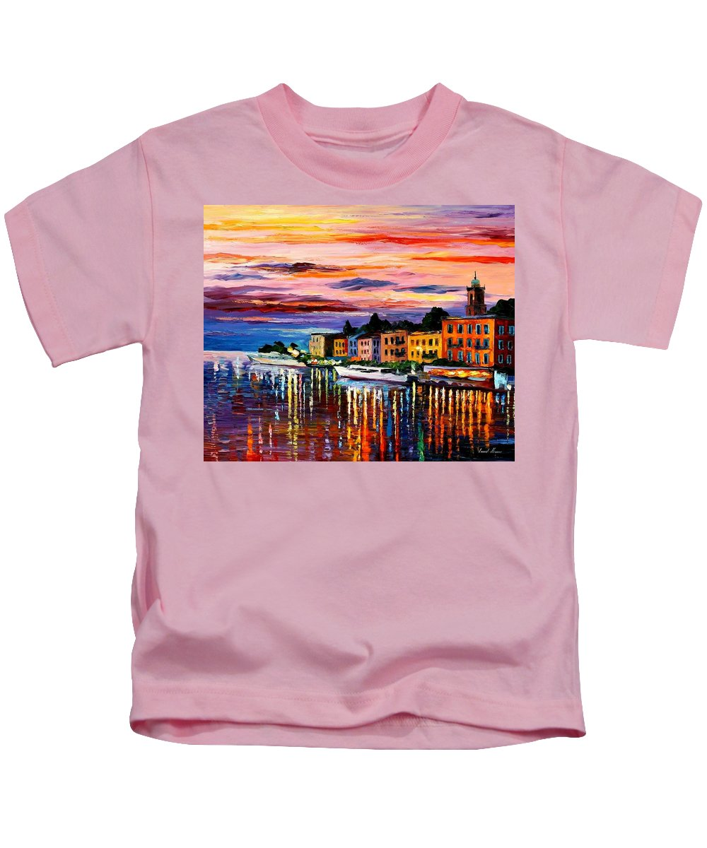 Cityscape Kids T-Shirt featuring the painting Lake Como - Bellagio by Leonid Afremov