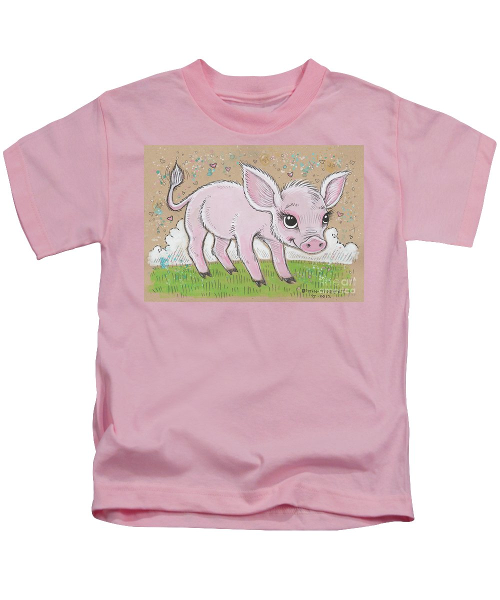 Pig Kids T-Shirt featuring the mixed media Lil Piglet by Maria Bolton-Joubert