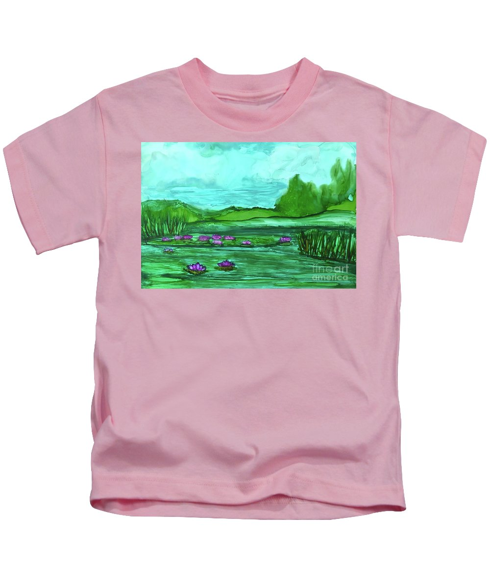 Dynamic Colors Kids T-Shirt featuring the painting Lily Pond by Leti C Stiles