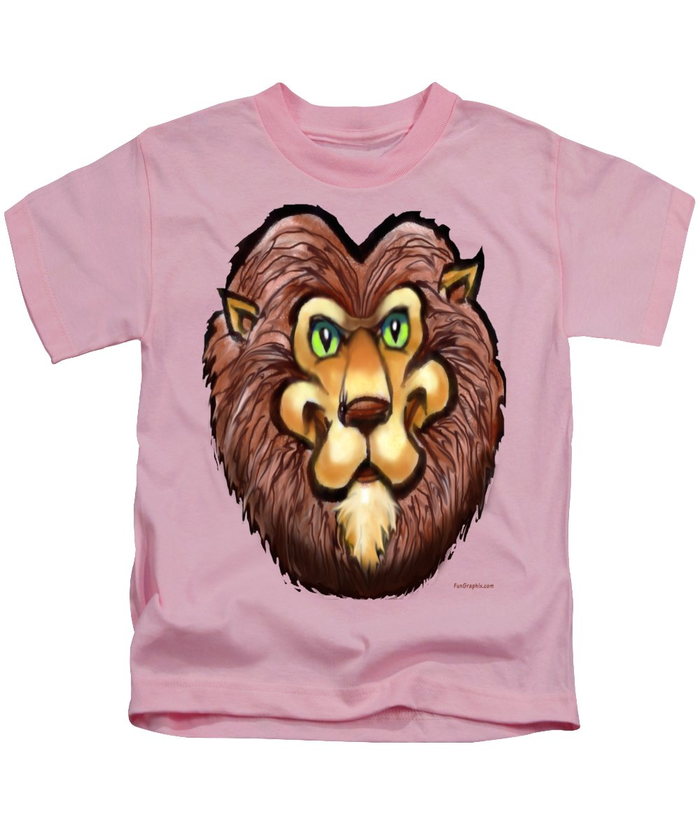 Lion Kids T-Shirt featuring the painting Lion by Kevin Middleton