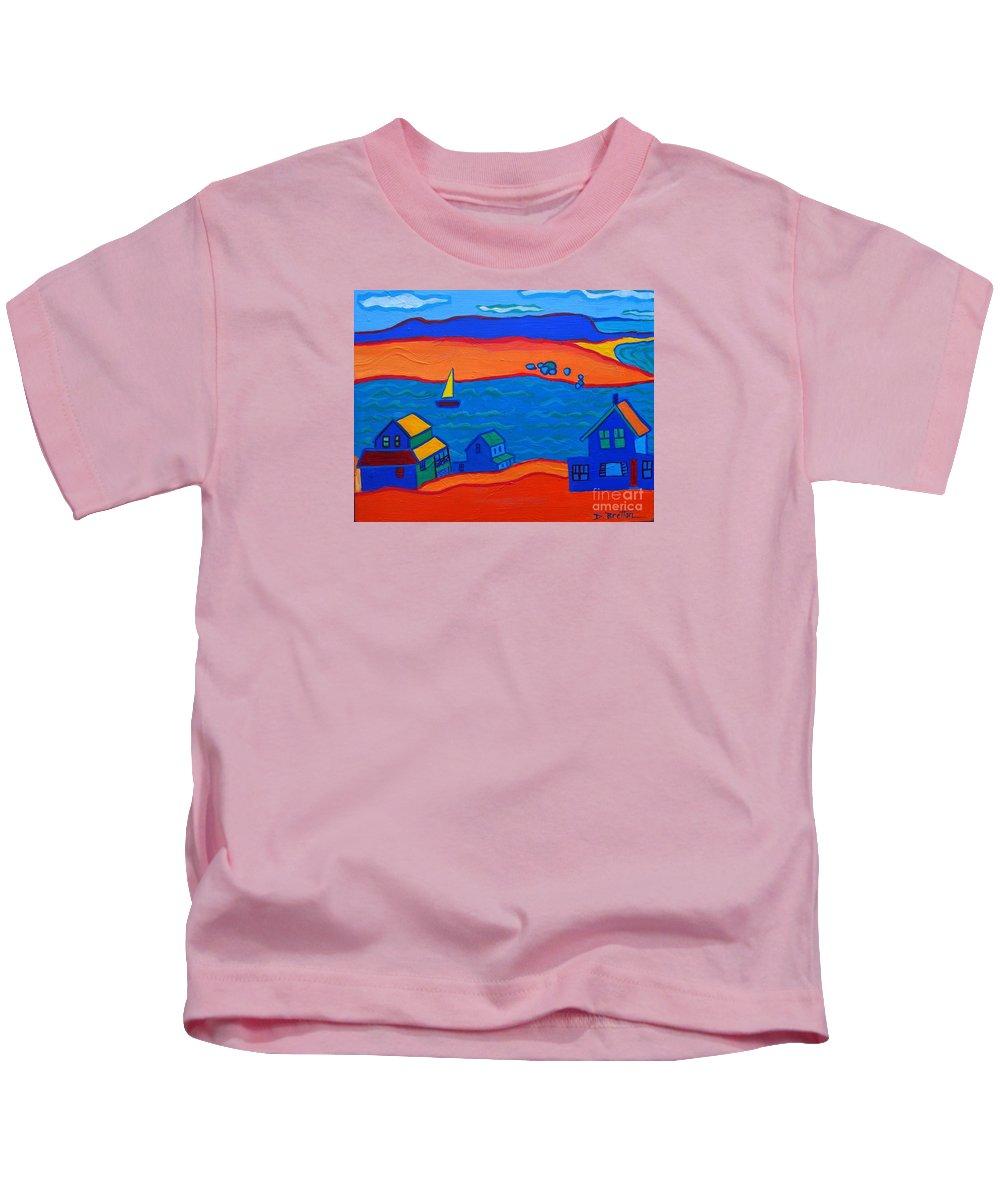 Landscape Kids T-Shirt featuring the painting Little Neck Cottages by Debra Bretton Robinson