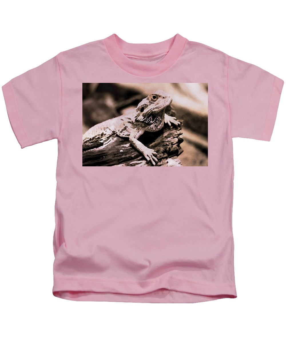 Dry Kids T-Shirt featuring the painting Lizard - Id 16217-202801-5279 by S Lurk