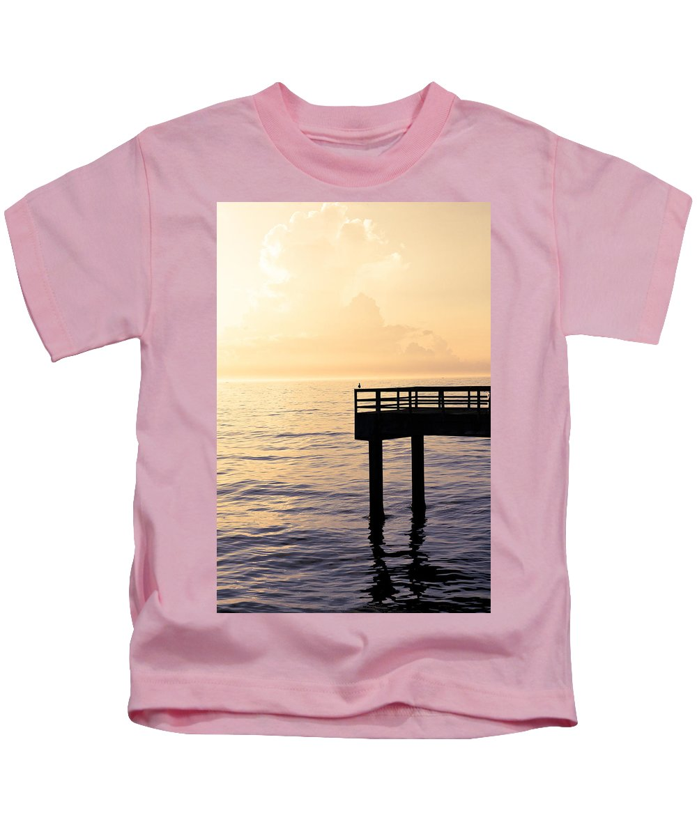 Beach Kids T-Shirt featuring the photograph Lone Bird At Morning by Marilyn Hunt