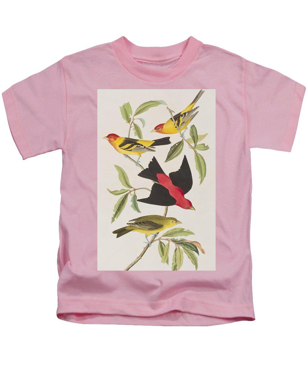 Louisiana Tanager Kids T-Shirt featuring the painting Louisiana Tanager Or Scarlet Tanager by John James Audubon