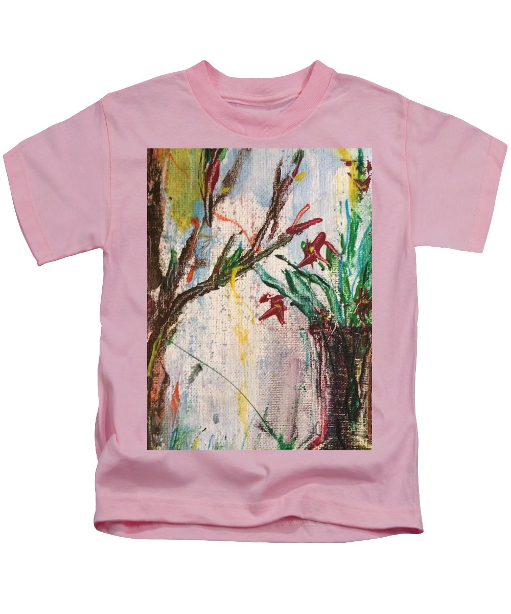 Acrylic. Vase Kids T-Shirt featuring the painting Lucy Vase by Louis Dore
