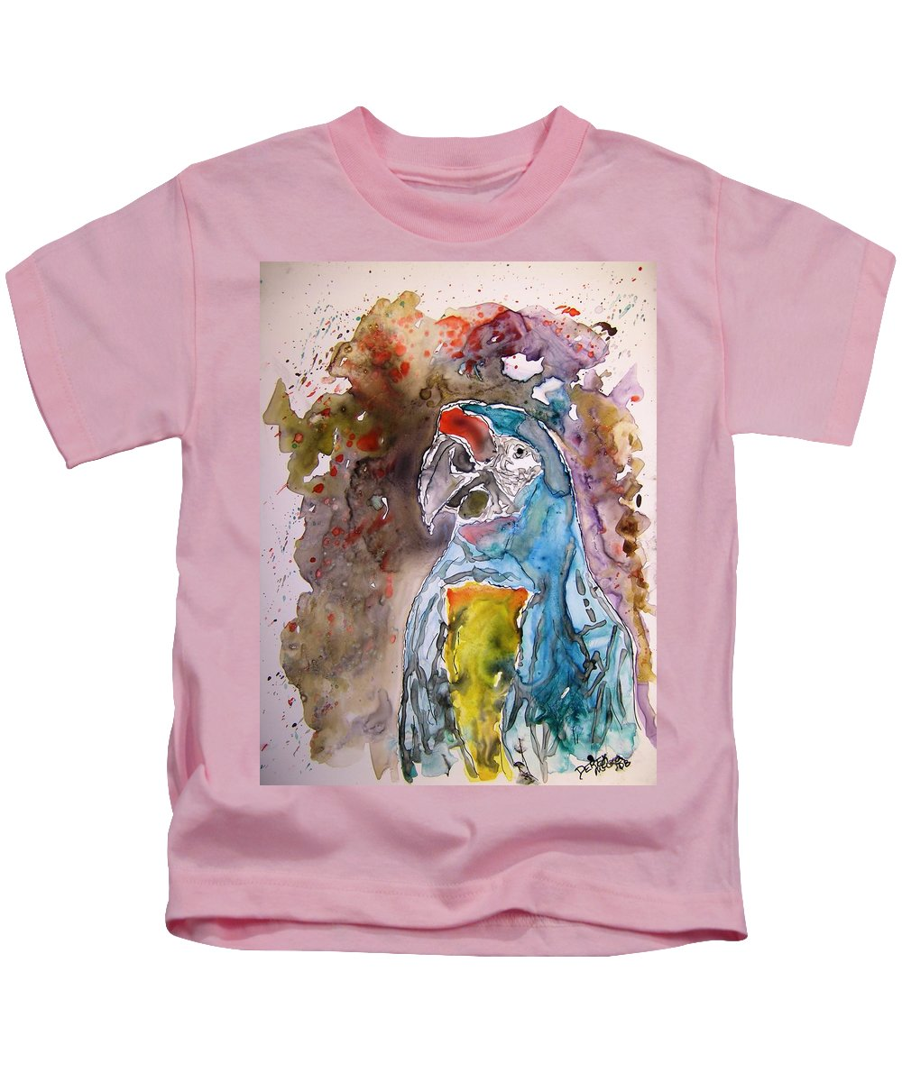 Parrot Kids T-Shirt featuring the painting Macaw Parrot by Derek Mccrea