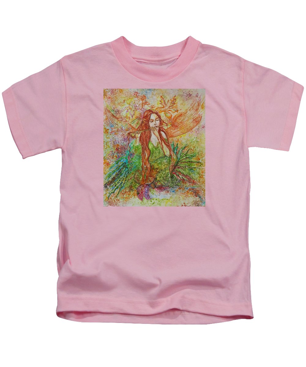 Song Kids T-Shirt featuring the painting Magical Song Of Autumn by Rita Fetisov