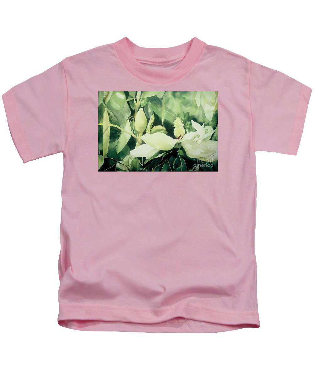 Magnolias Kids T-Shirt featuring the painting Magnolium Opus by Elizabeth Carr