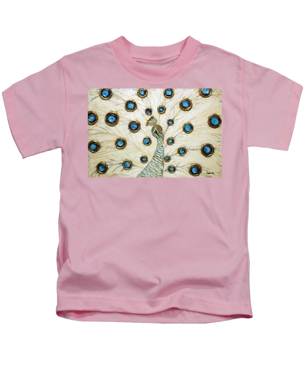Peacock Kids T-Shirt featuring the painting Majestic by Susanna Shap