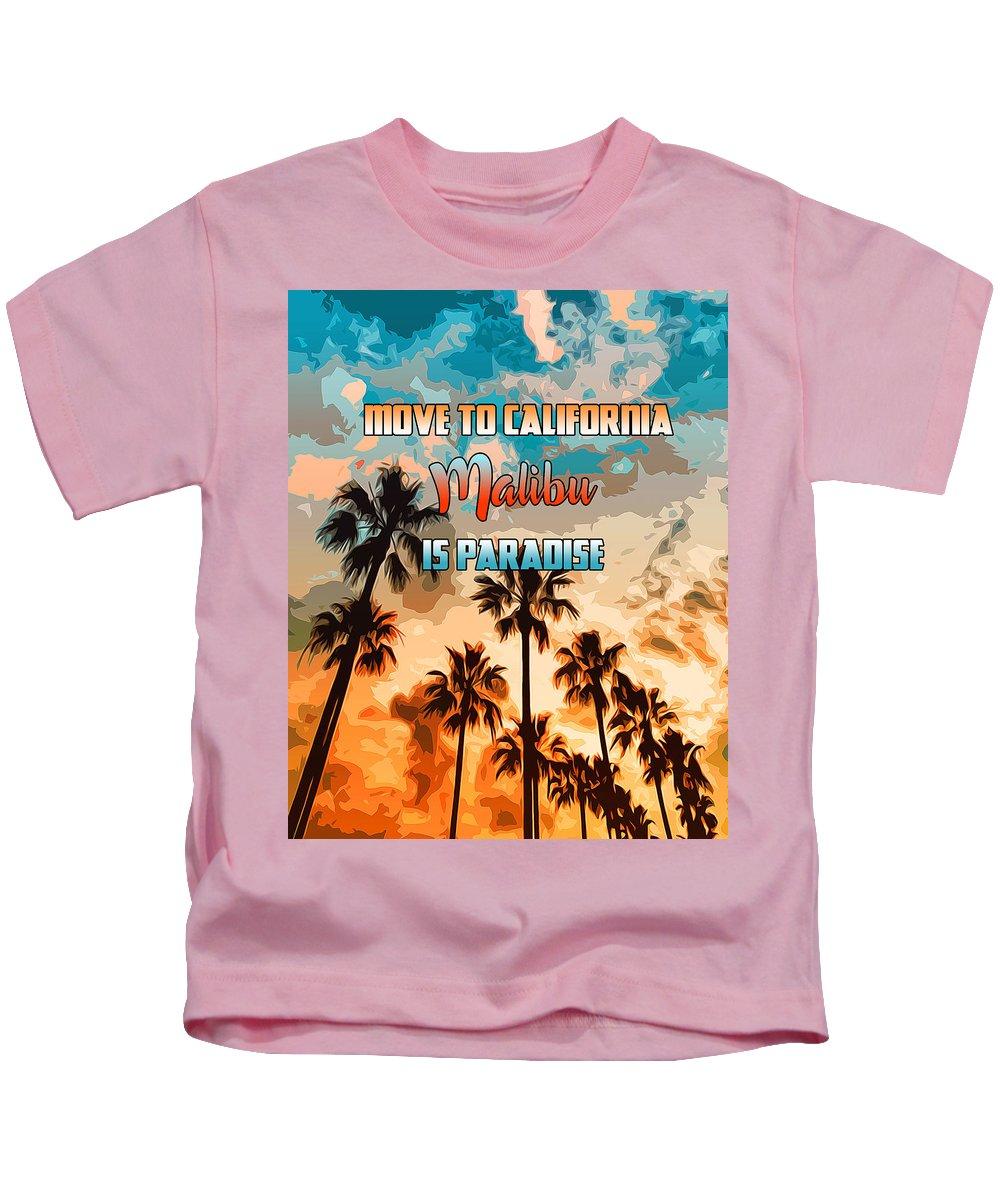 Malibu Beach Kids T-Shirt featuring the painting Malibu Is Paradise by Andrea Mazzocchetti