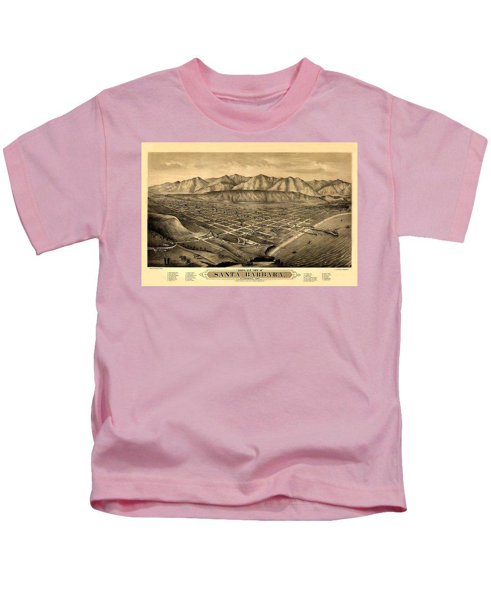 Santa Barbara Kids T-Shirt featuring the photograph Map Of Santa Barbara 1877 by Andrew Fare