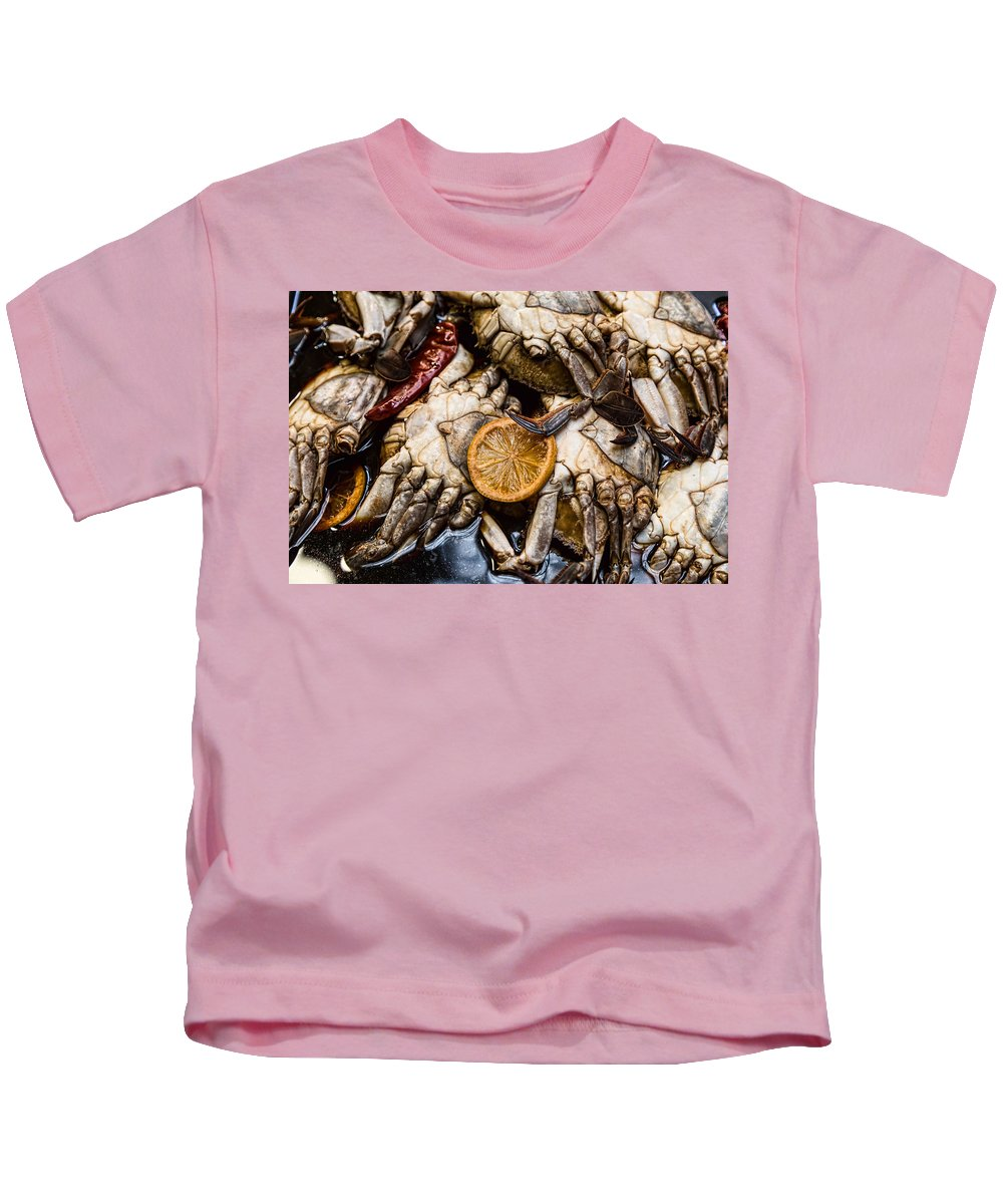 Market Kids T-Shirt featuring the photograph Marinated Fresh Crabs At The Market by James BO Insogna