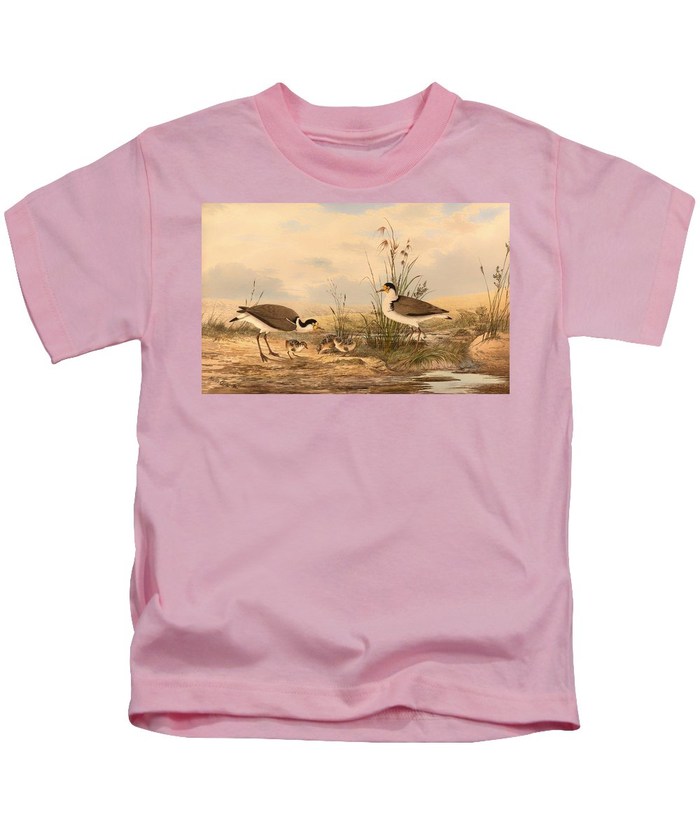Painting Kids T-Shirt featuring the painting Masked Lapwing by Mountain Dreams