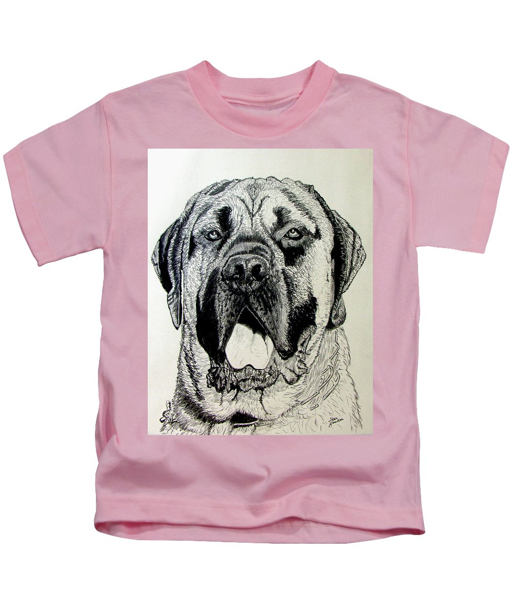 Mastiff Kids T-Shirt featuring the drawing Mastiff by Stan Hamilton