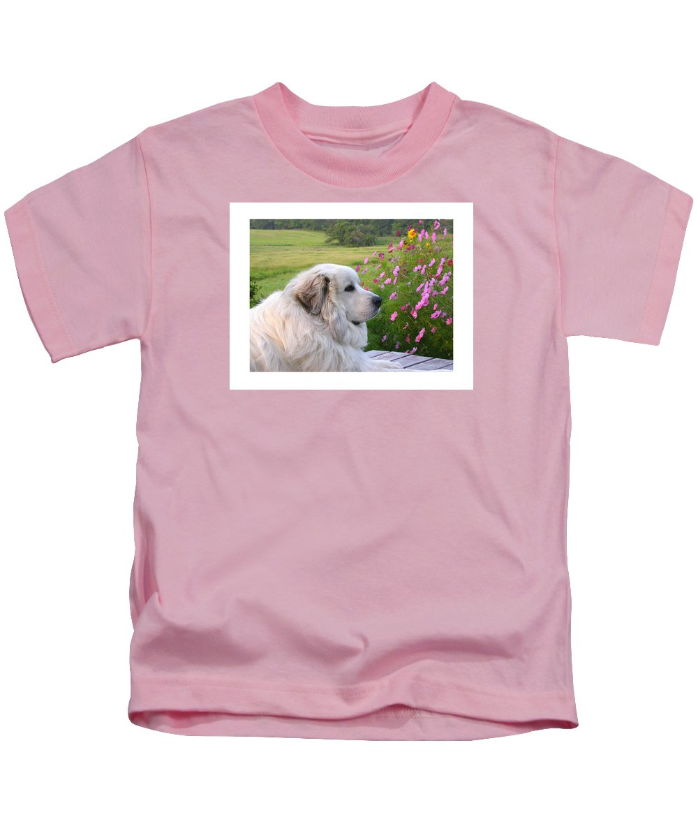 Great Pyrenees Kids T-Shirt featuring the photograph Maurice by Linda Murphy