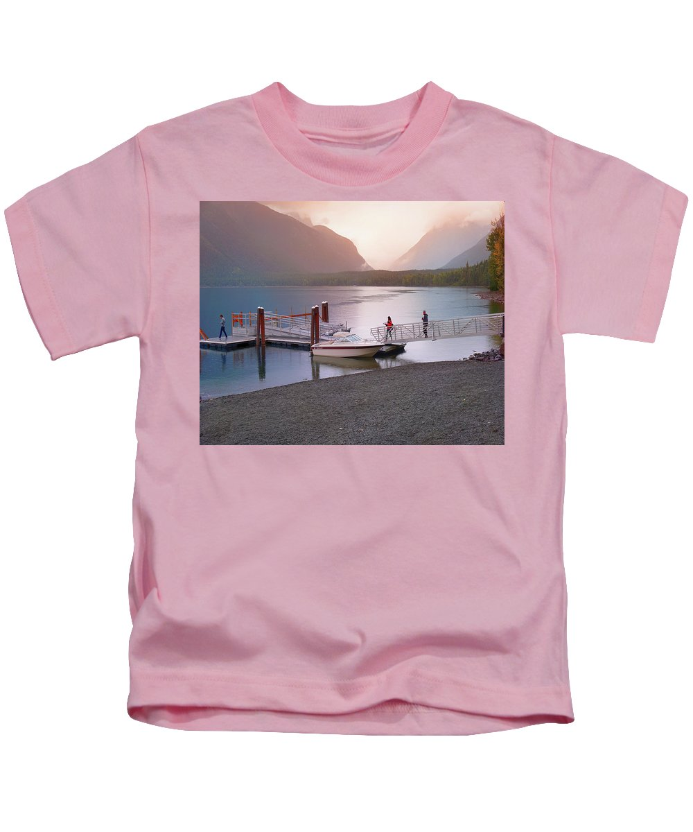 Lake Kids T-Shirt featuring the photograph Mcdonald Lake At Dusk by Darrell Mcgahhey