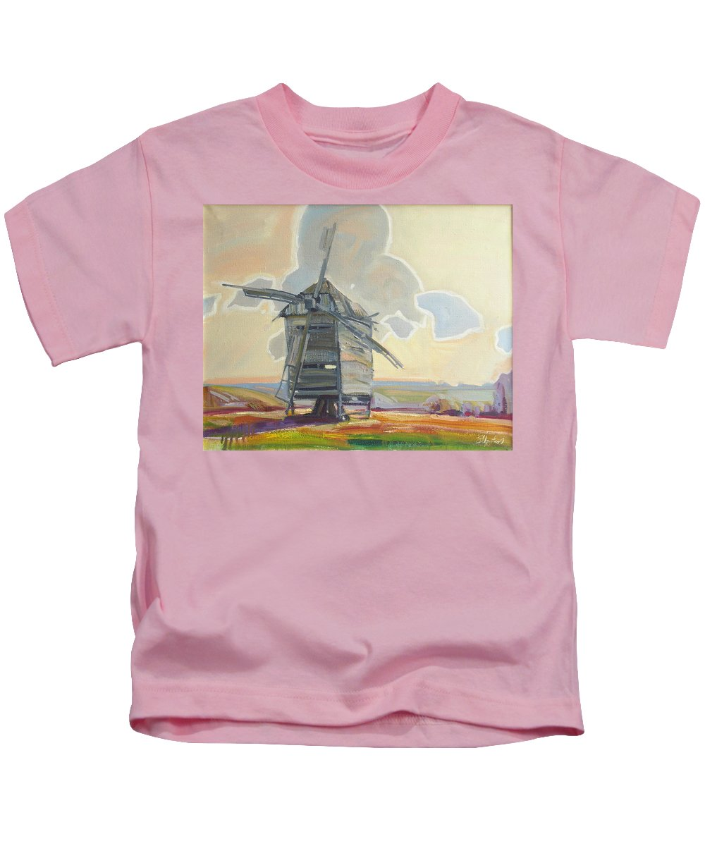 Oil Kids T-Shirt featuring the painting Mill by Sergey Ignatenko