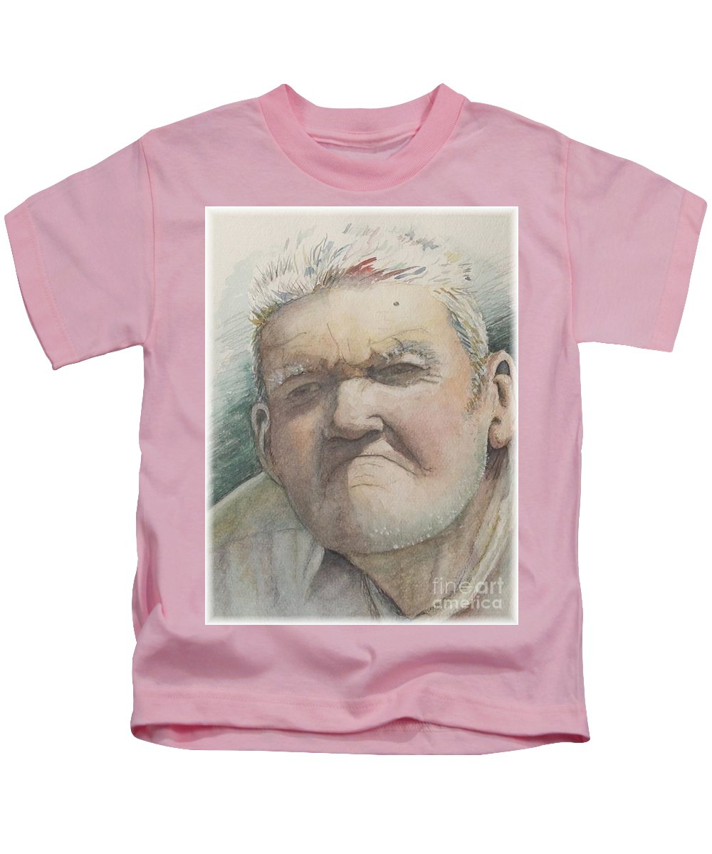 Portrait Kids T-Shirt featuring the painting Minnesota Farmer by Nadine Rippelmeyer