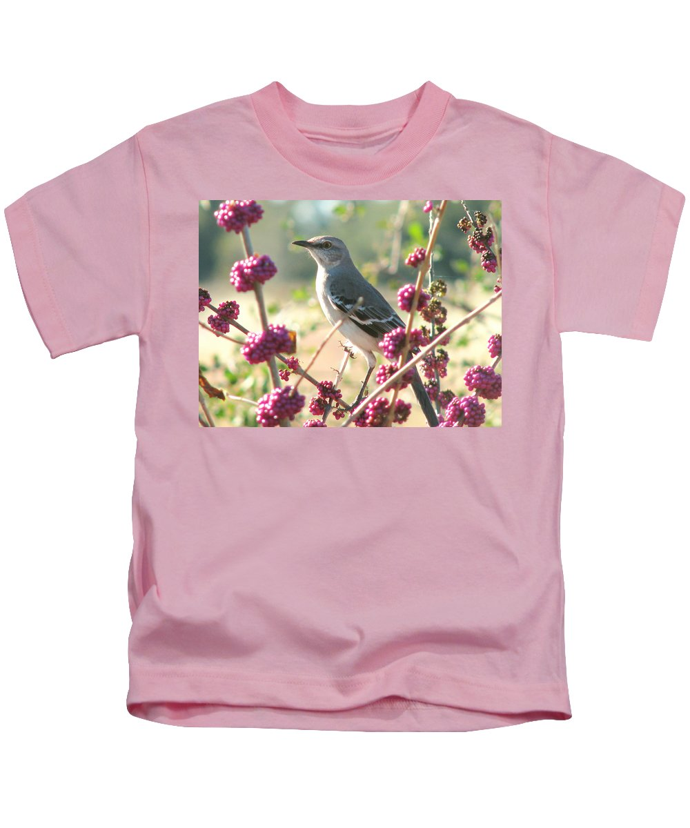 Nature Kids T-Shirt featuring the photograph Mockingbird Heaven by Peg Urban
