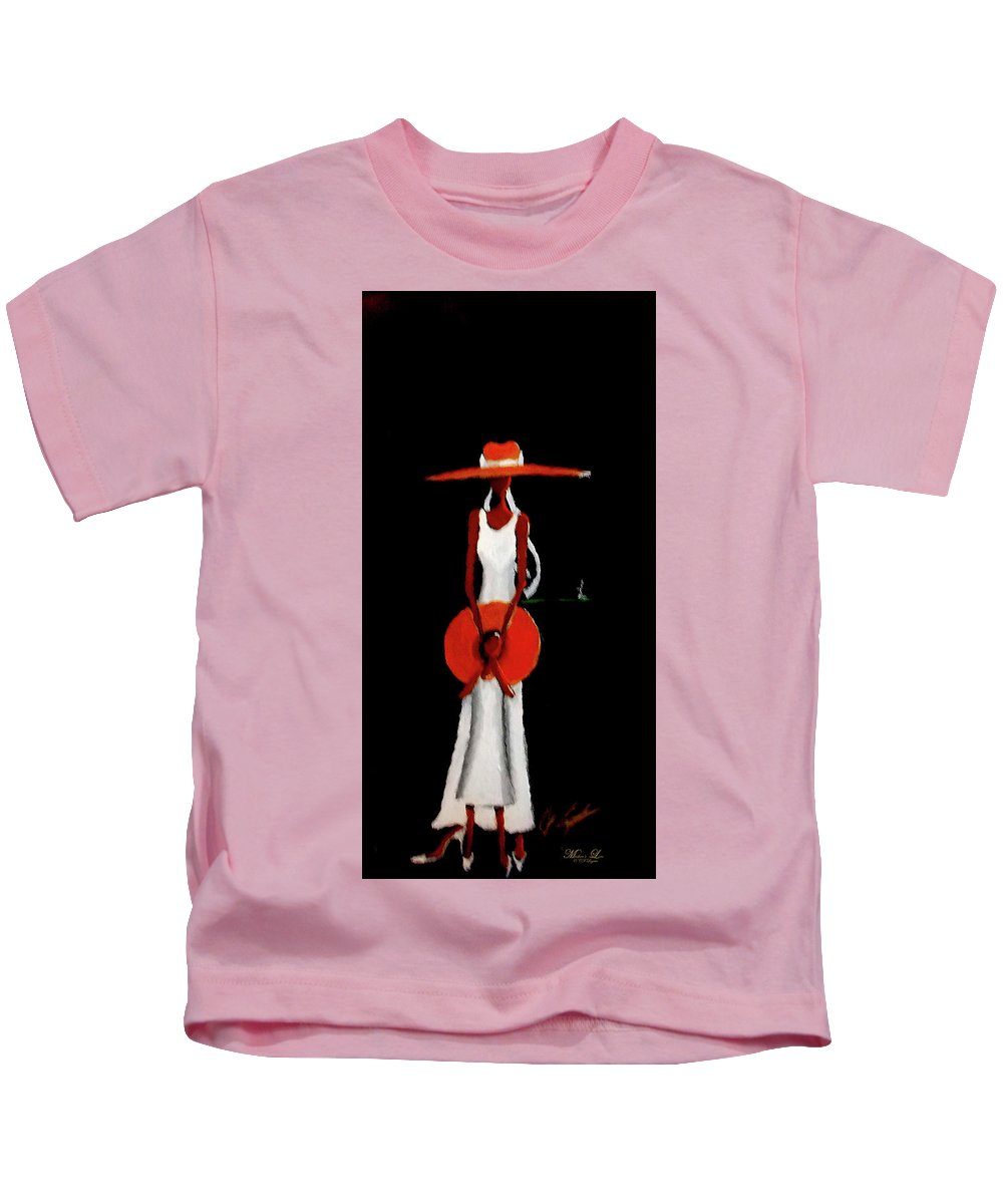 Mom Kids T-Shirt featuring the painting Mom And Daughter by C F Legette