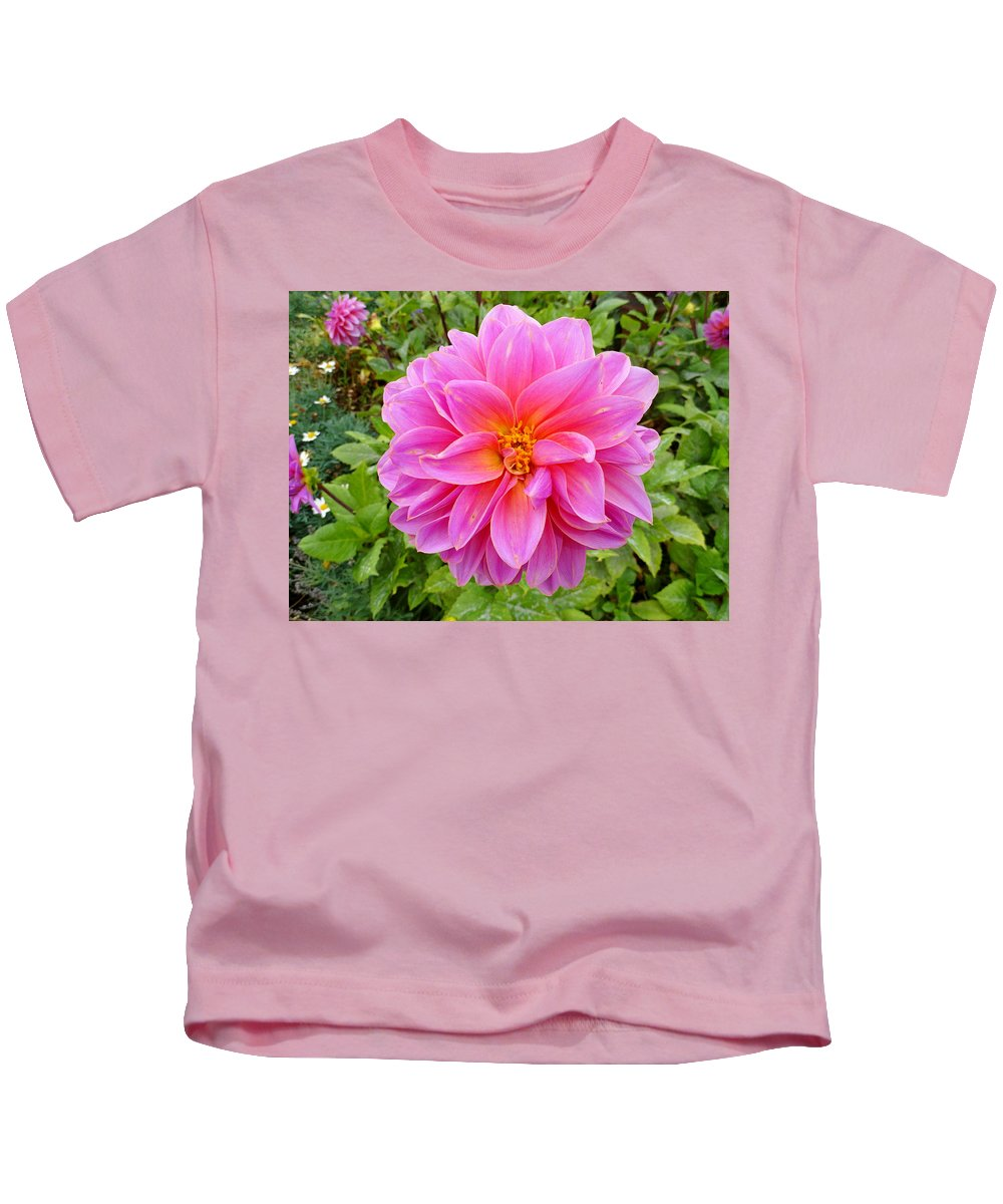 Dahlia Kids T-Shirt featuring the photograph Monterey Pink by Robert Meyers-Lussier
