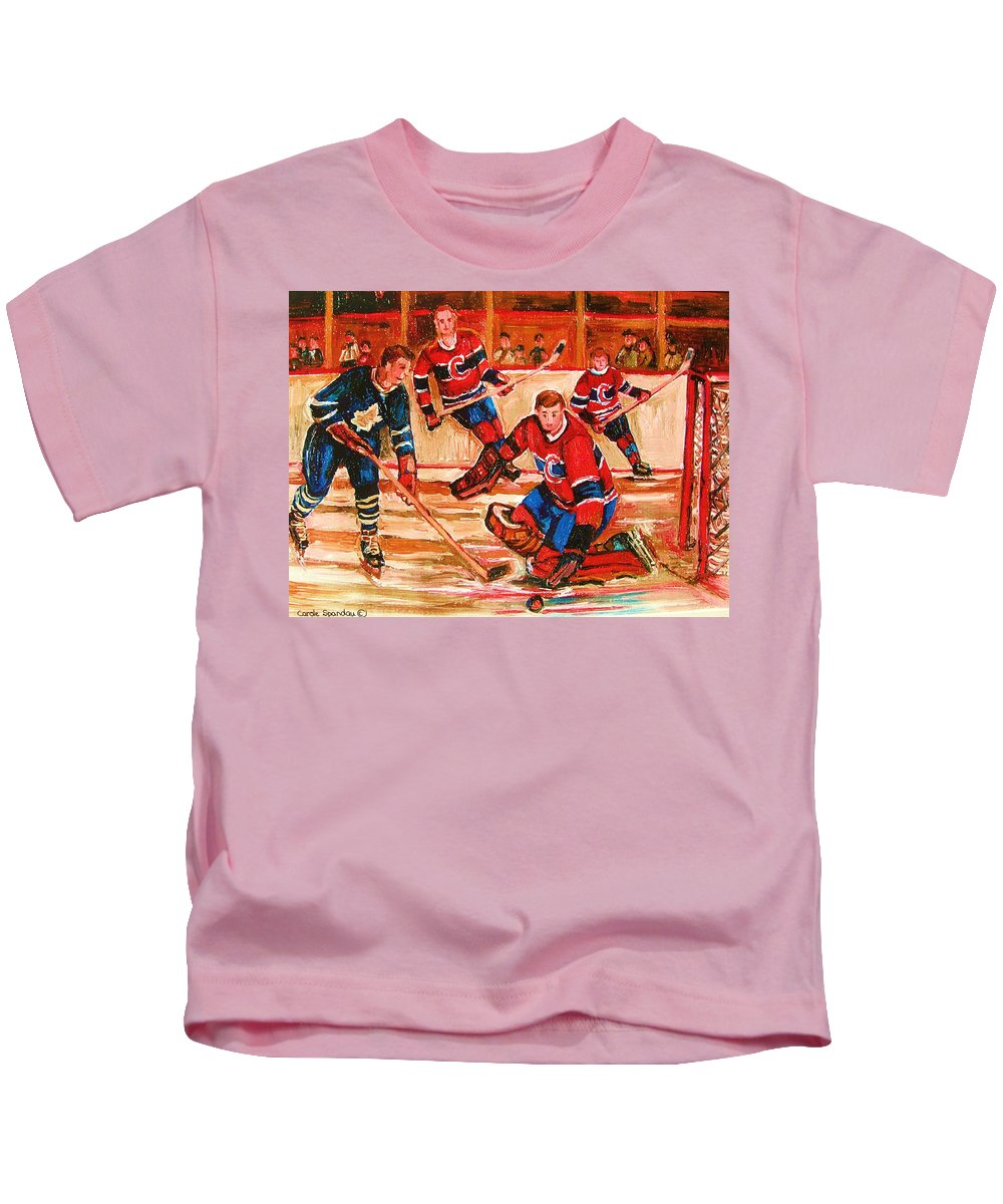 Montreal Forum Hockey Kids T-Shirt featuring the painting Montreal Forum Hockey Game by Carole Spandau