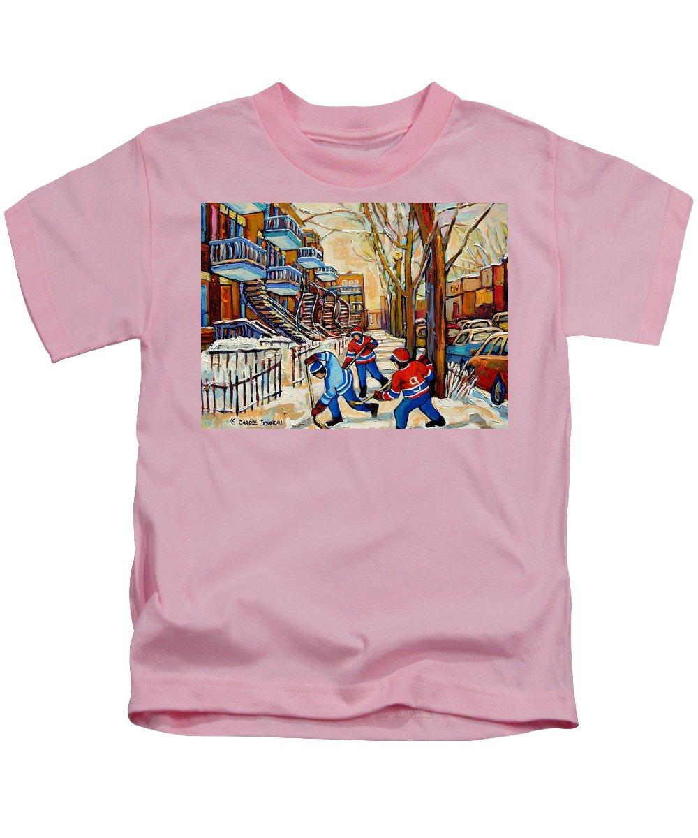 Montreal Hockey Game With 3 Boys Kids T-Shirt featuring the painting Montreal Hockey Game With 3 Boys by Carole Spandau