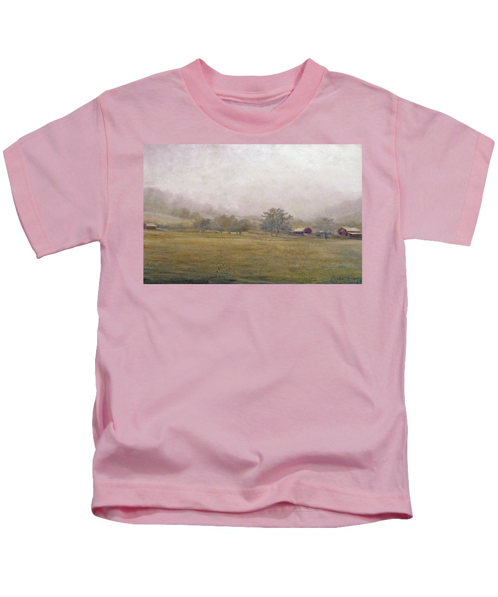 Landscape Kids T-Shirt featuring the painting Morning In Georgia by Andrew King