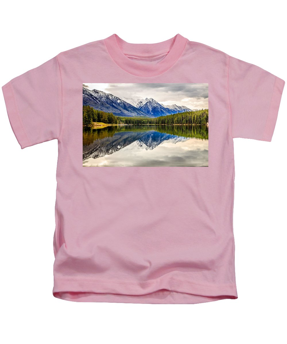 Mountains Kids T-Shirt featuring the photograph Mountains Reflected In The Lake by Csaba Demzse
