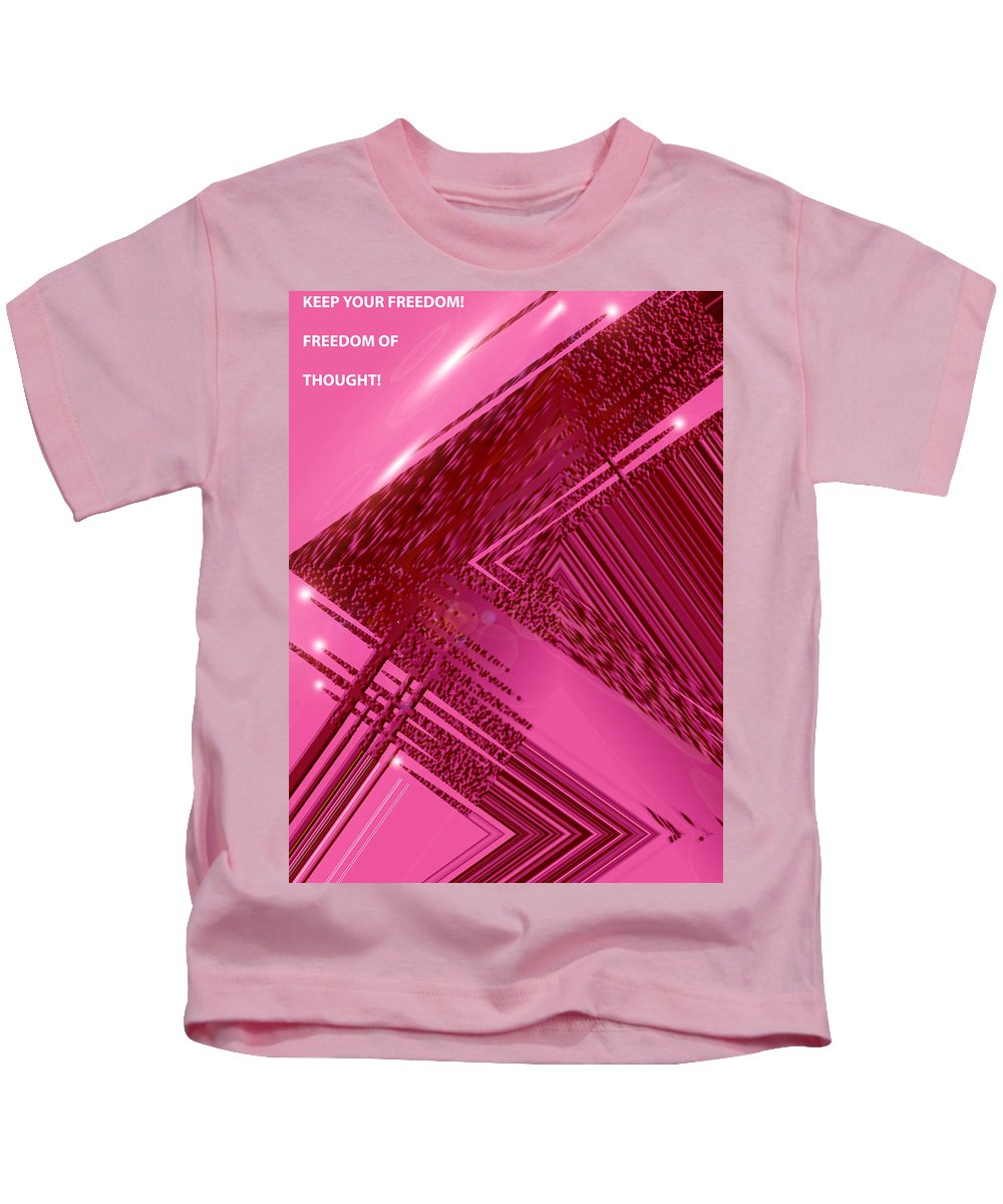 Moveonart! Digital Gallery Kids T-Shirt featuring the digital art Moveonart Freedom Of Thought One by Jacob Kanduch