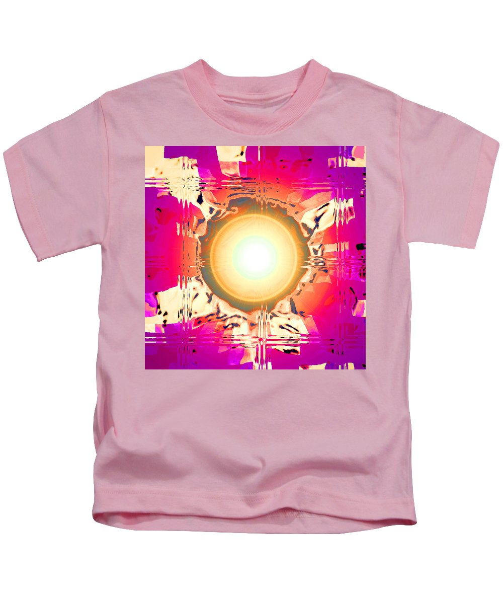 Moveonart! Digital Gallery Kids T-Shirt featuring the digital art Moveonart May This Gift Of Light Help You Along Lifes Way by Jacob Kanduch