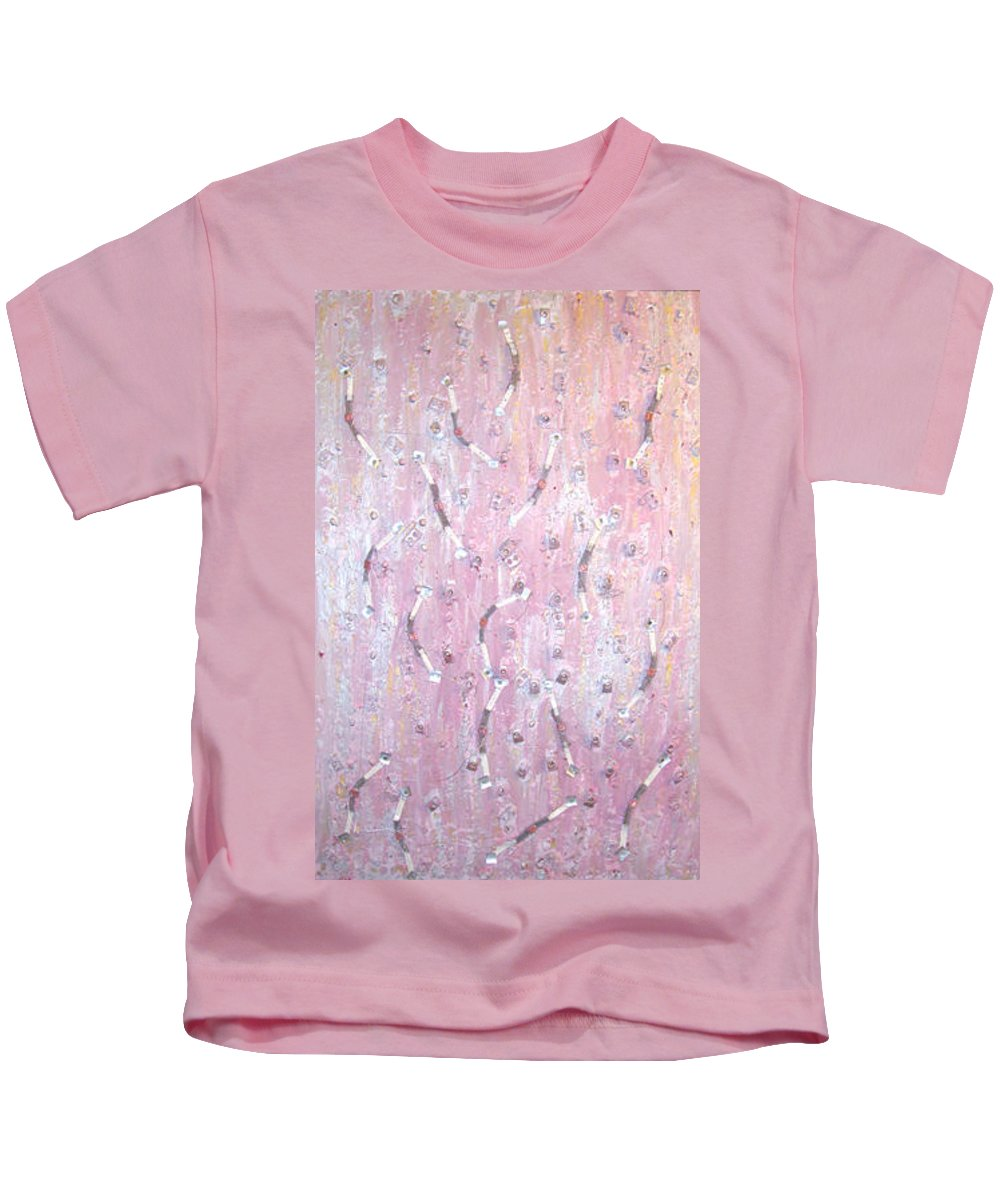 Moveonart! Digital Gallery Kids T-Shirt featuring the painting Moveonart Music And Art Connection Pink by Jacob Kanduch