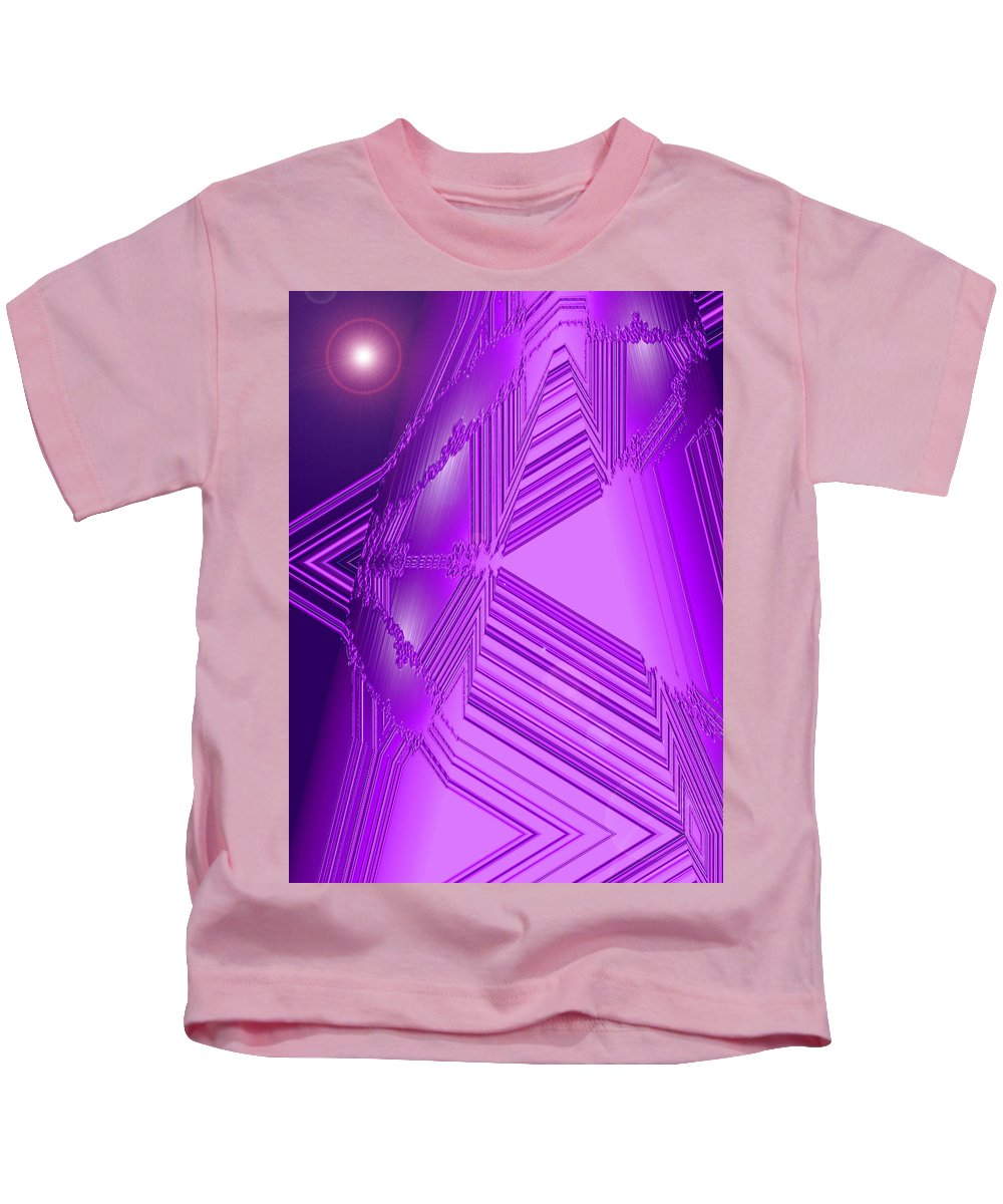 Moveonart! Digital Gallery Kids T-Shirt featuring the digital art Moveonart Other Worlds One by Jacob Kanduch