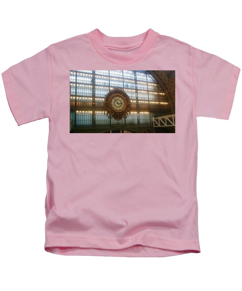 Museum Kids T-Shirt featuring the photograph Museum D'orsay Clock by Valerie Ornstein