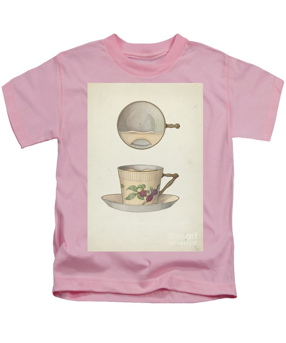 Kids T-Shirt featuring the painting Mustache Cup And Saucer by Dana Bartlett