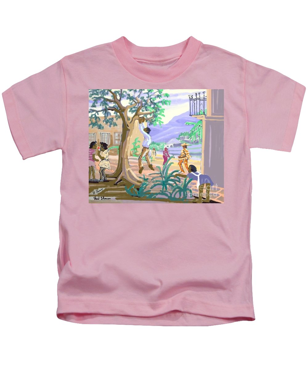 Art Kids T-Shirt featuring the digital art Natives Of St. Thomas by Shirl Solomon