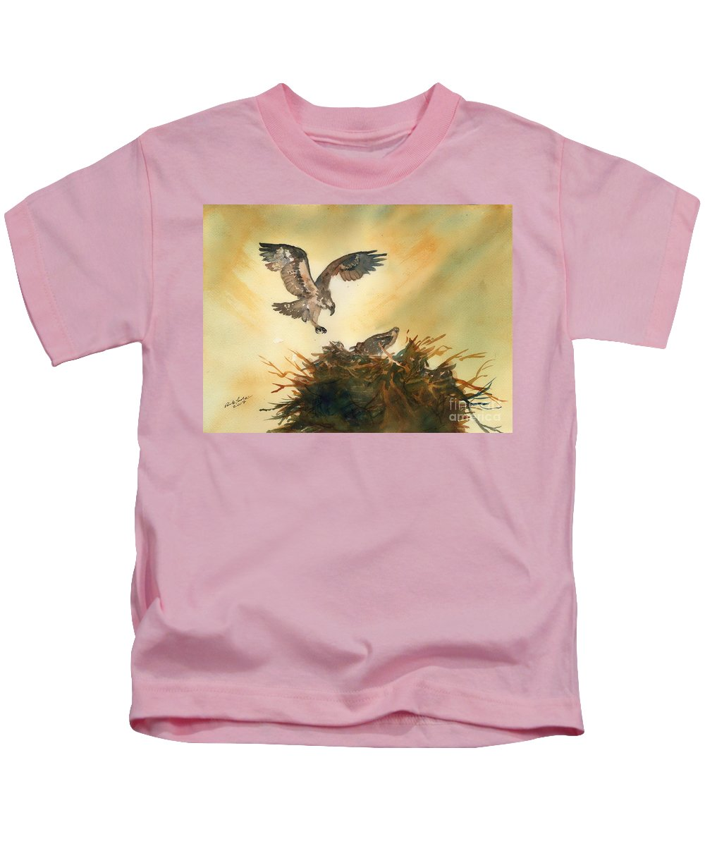 Osprey Kids T-Shirt featuring the painting Nesting Ospray by Paul Temple