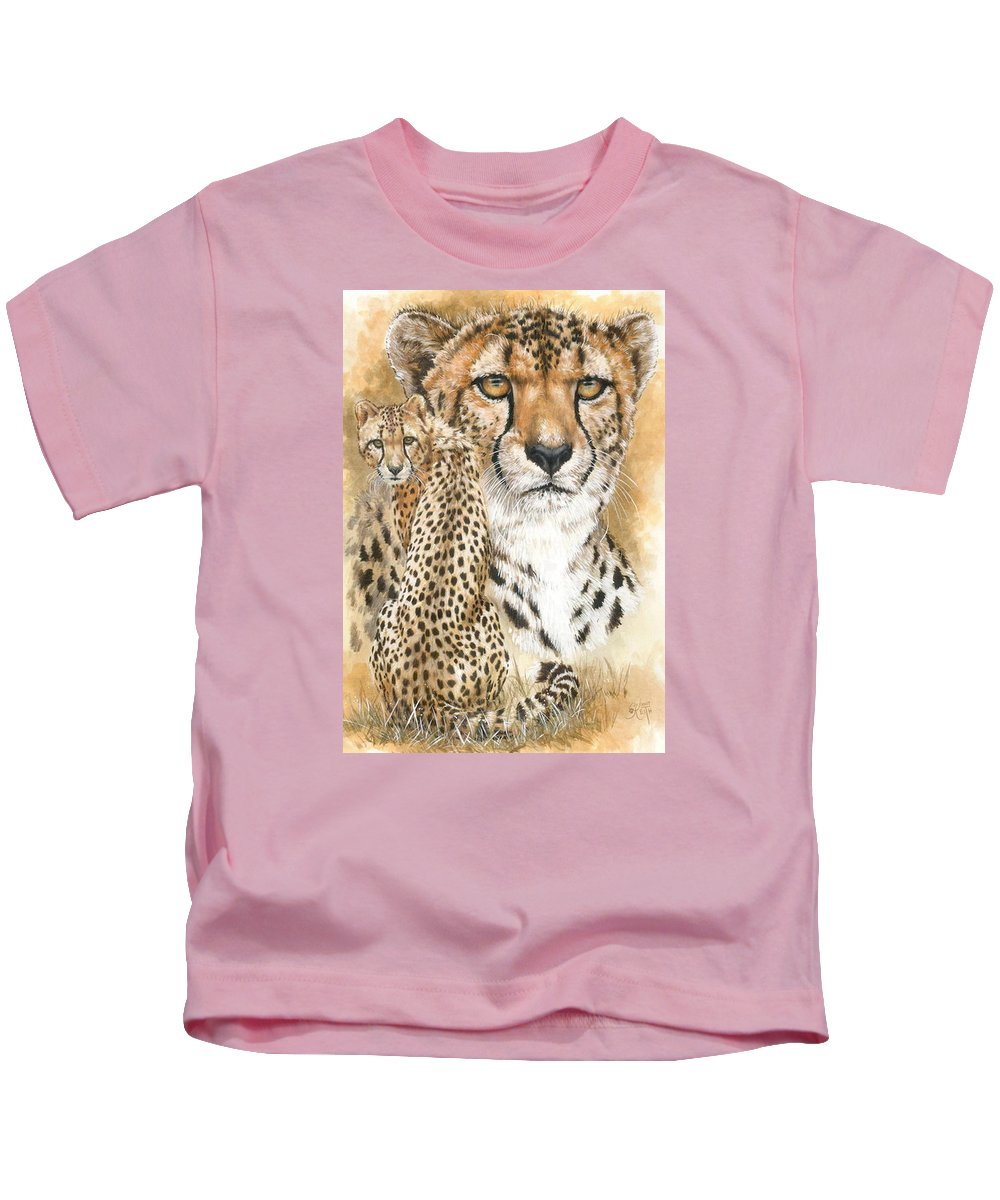 Cheetah Kids T-Shirt featuring the mixed media Nimble by Barbara Keith