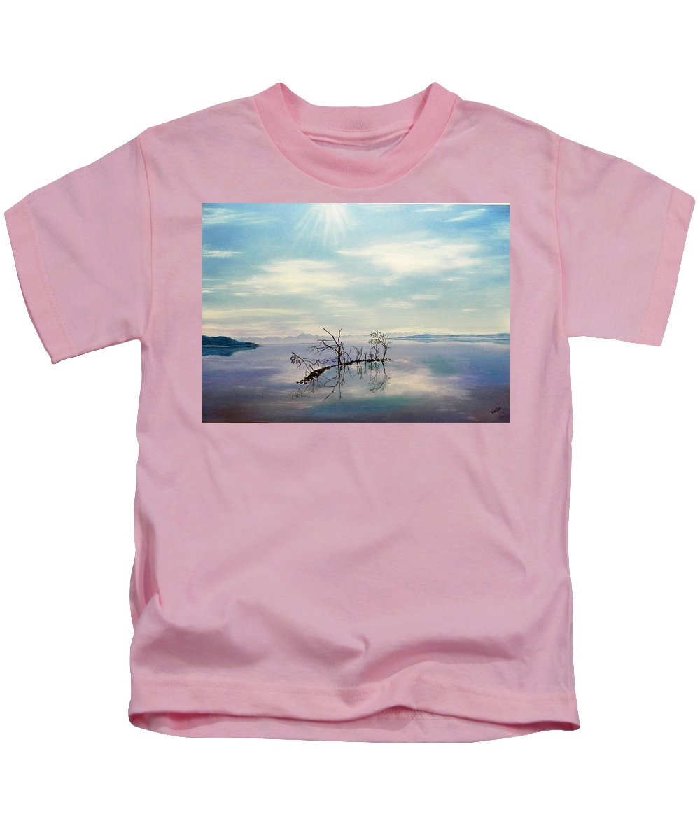 Late Novemeber In Bavaria Kids T-Shirt featuring the painting November on a bavarian lake by Helmut Rottler