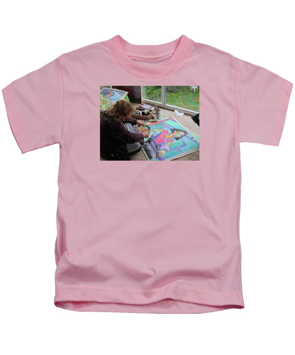 Landscape Kids T-Shirt featuring the painting Nude by Raquel Sarangello