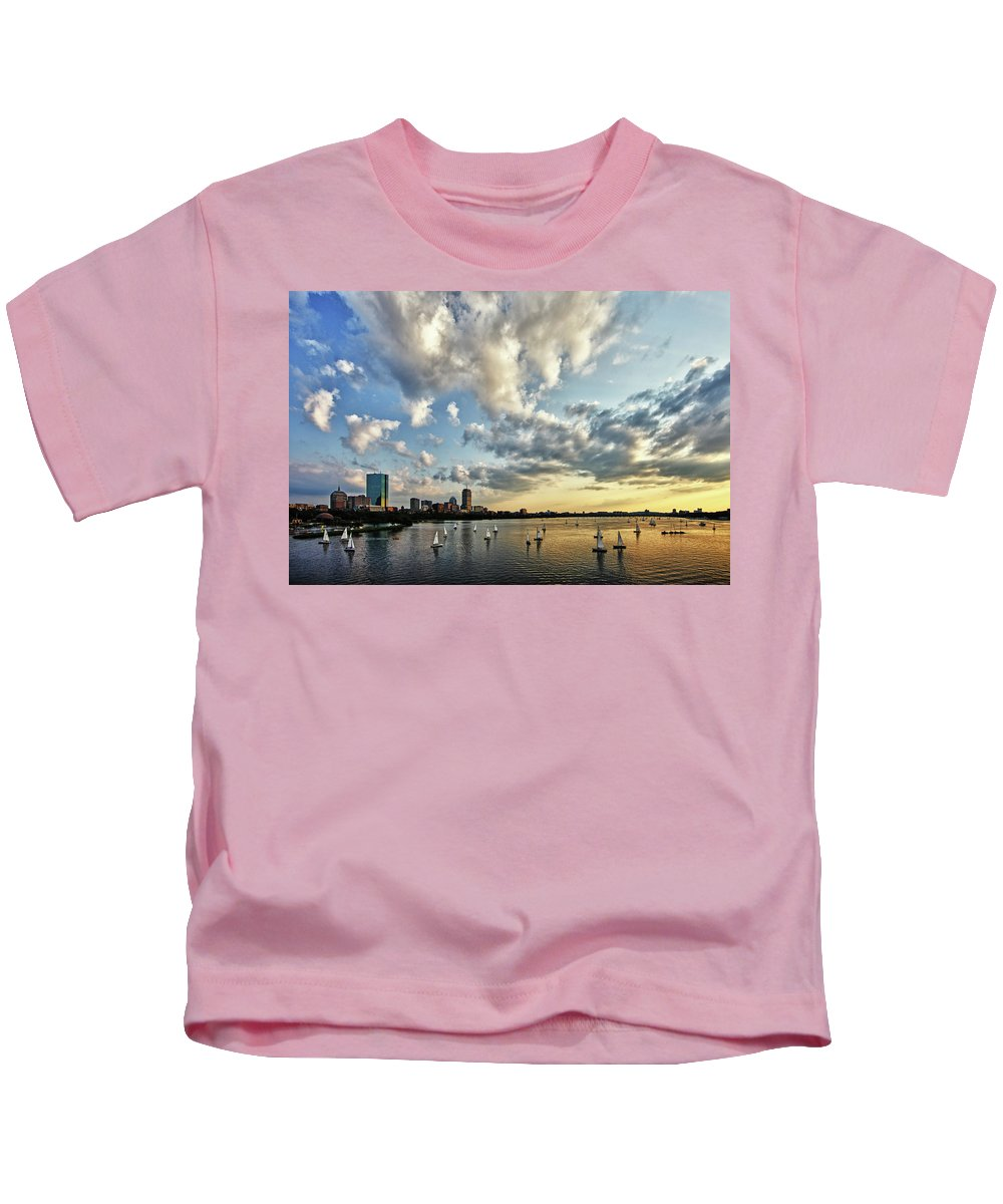 Longfellow Bridge Kids T-Shirt featuring the photograph On The Charles II by Rick Berk