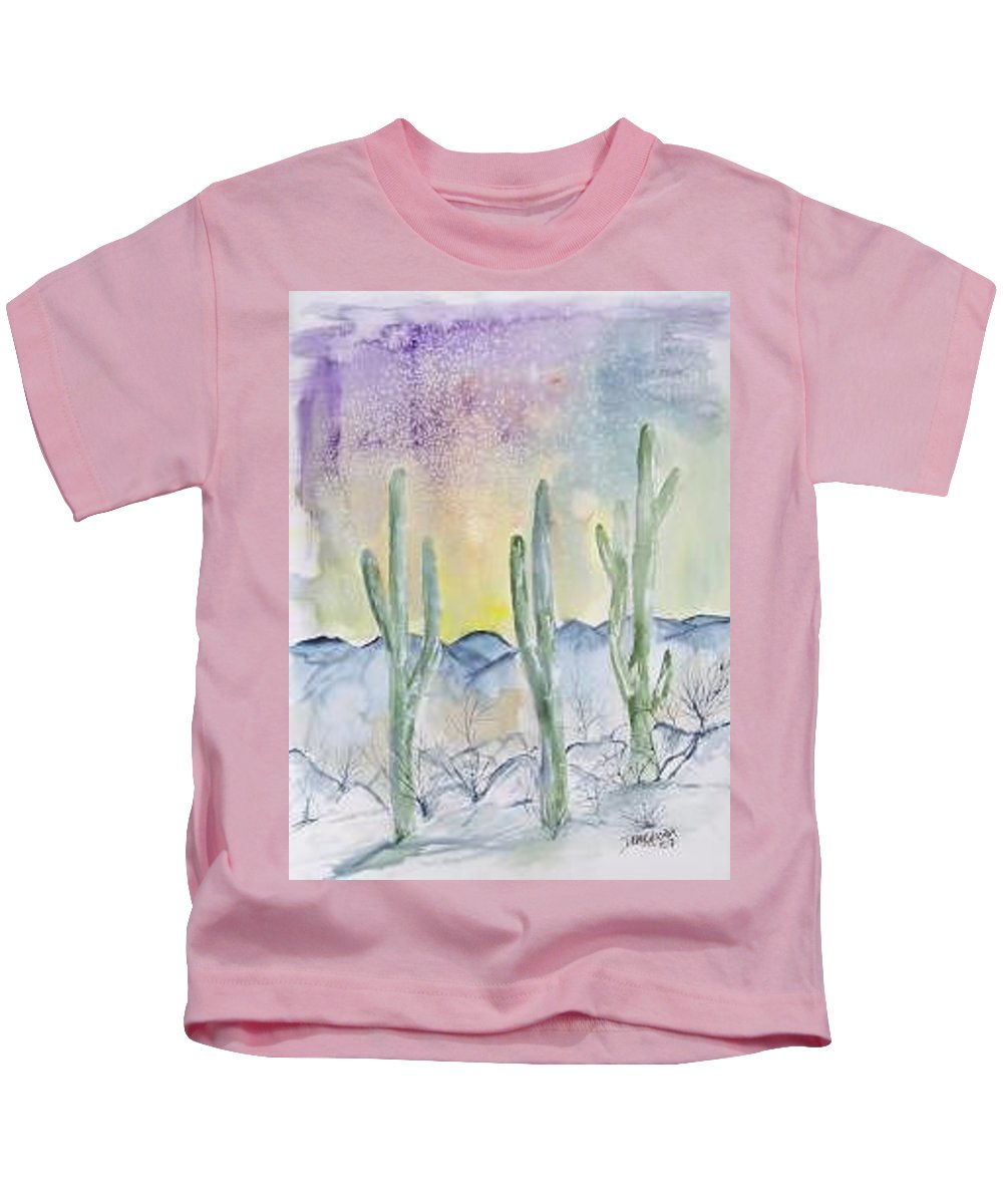 Impressionistic Kids T-Shirt featuring the painting Organ Pipe Cactus desert southwestern painting poster print by Derek Mccrea
