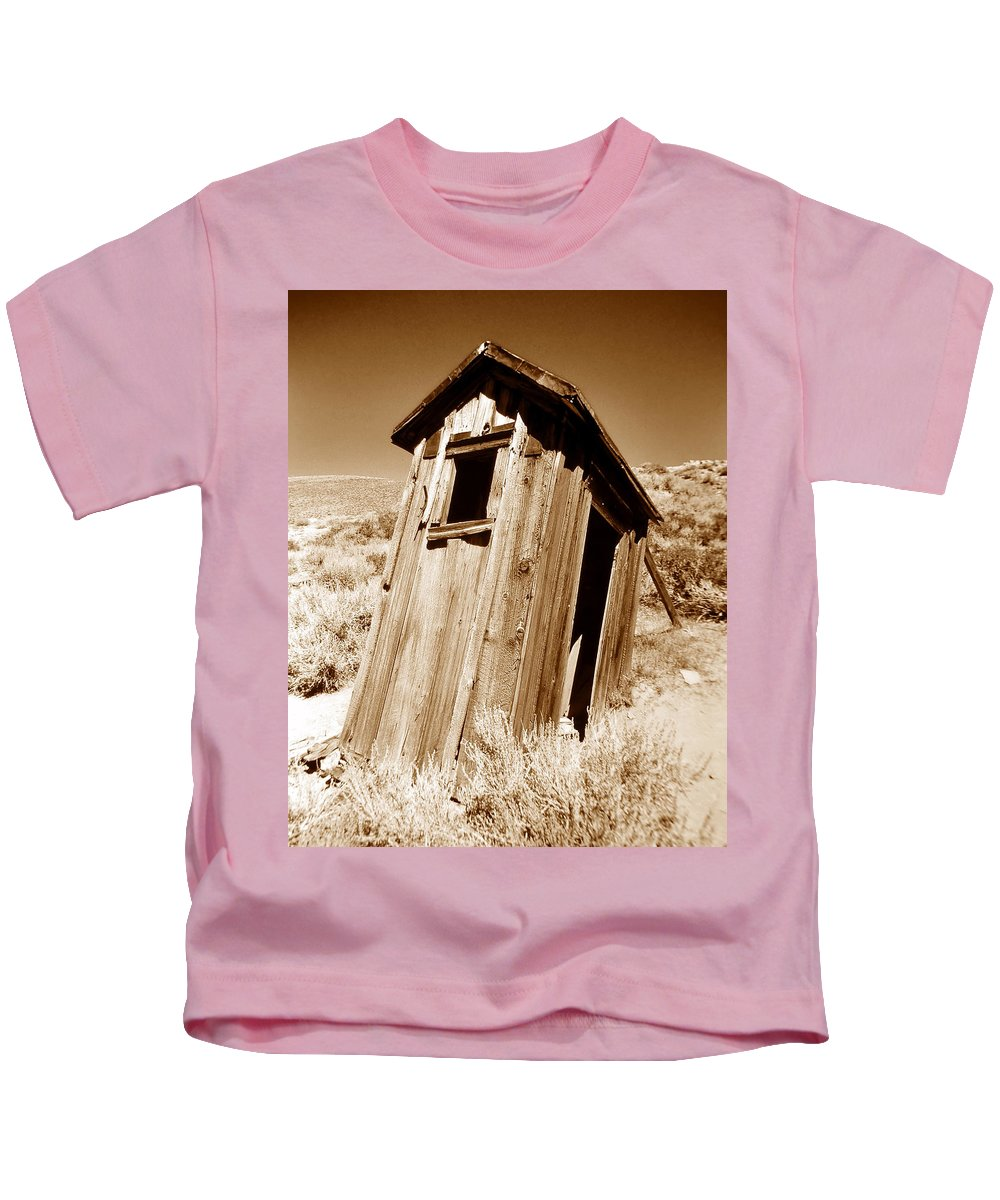 Fine Art Photography Kids T-Shirt featuring the photograph Outhouse At Bodie by David Lee Thompson