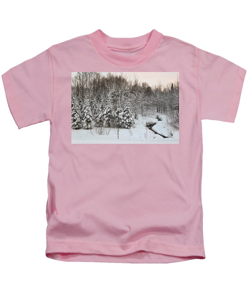 Winter Kids T-Shirt featuring the photograph Over The Stream by Kellie Prowse