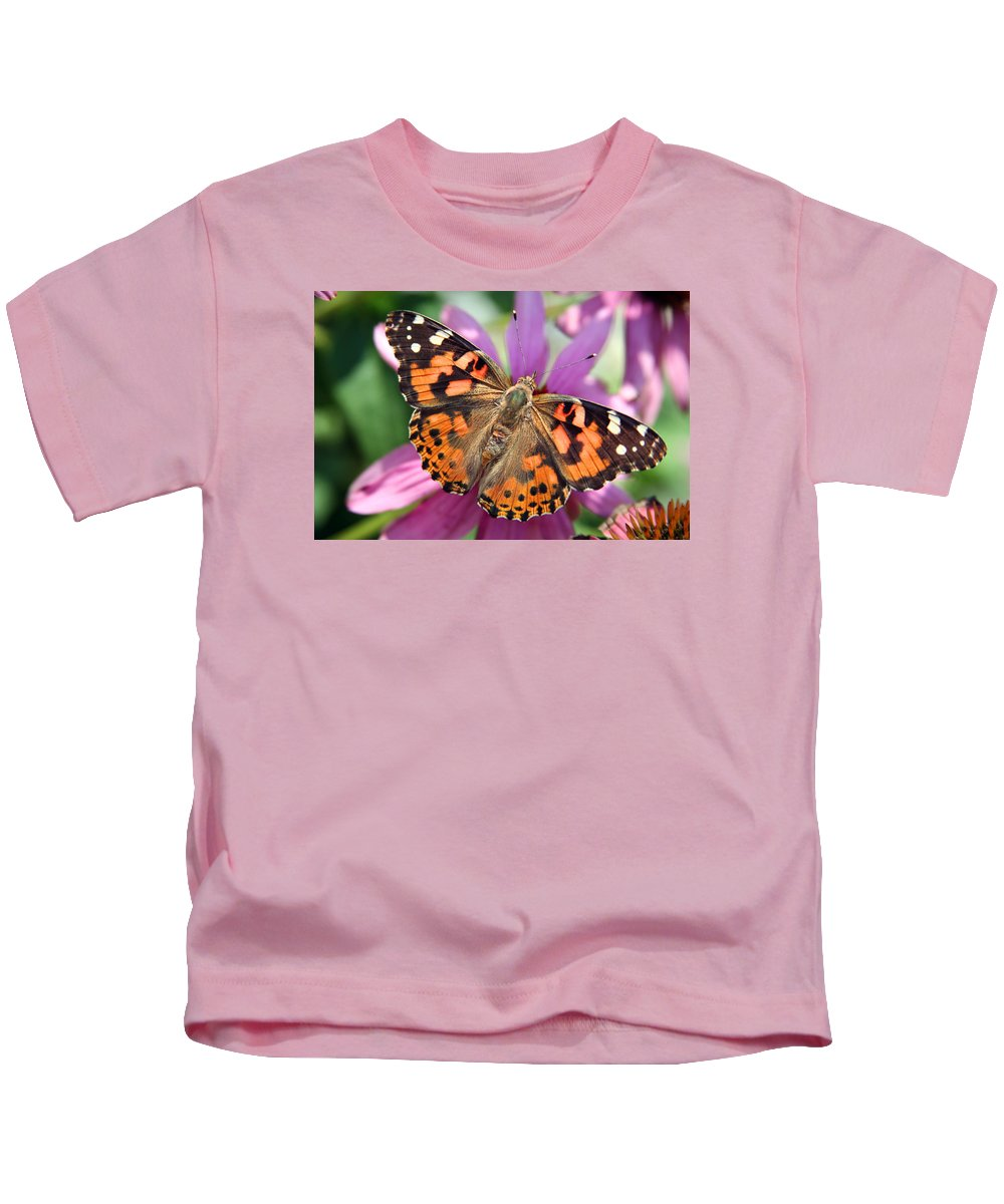 Painted Lady Kids T-Shirt featuring the photograph Painted Lady Butterfly by Margie Wildblood