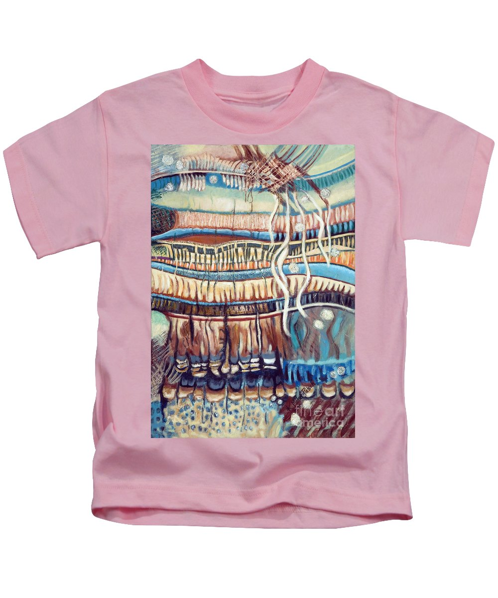 Abstract Kids T-Shirt featuring the painting Palm Contractions by Kerryn Madsen-Pietsch