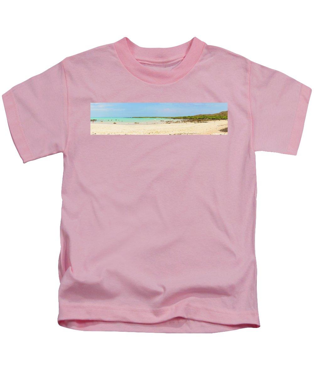Santa Cruz Kids T-Shirt featuring the photograph Panorama Of The El Garrapatero Beach On Santa Cruz Island In Gal by Marek Poplawski