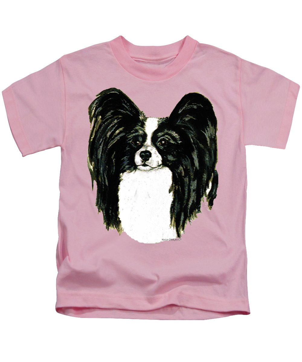 Papillon Kids T-Shirt featuring the painting Papillon by Kathleen Sepulveda
